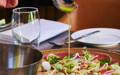 Restaurant carpaccio met olie